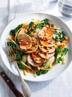 Recette de salade de bok choy et de filet de porc, vinaigrette teriyaki