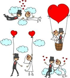 Illustration of cartoon wedding pictures vector art, clipart and stock vectors. Wedding Cards, Wedding Invitations, Wedding Clip, Wedding Illustration, Jolie Photo, Stick Figures, Happy Anniversary, Cute Love, Clipart