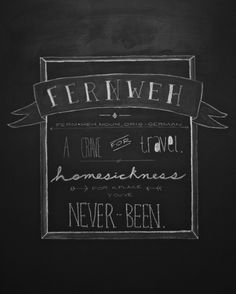 Fernweh. LOVE this chalk drawing and the website it represents :)