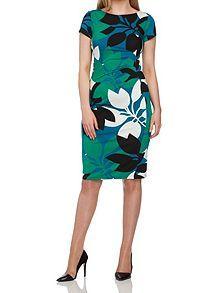 Leaf Print Jersey Dress