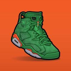 "SLOFAR on Instagram: ""Jordan 6 Gatorade Green 🟢🟢🟠 #sneakerart #sneakerartist #sneakerartwork #sneakervector #jordan6 #jordan6s #jordan6gatorade"" Jordans Sneakers, Air Jordans, Jordan Vi, Sneaker Art, Nike Wallpaper, Cartoon, Stickers, Tees, Link"