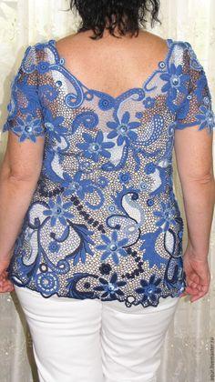 """Купить Туника """"Магия ночи"""" - цветочный, синий, ирландское кружево, Вязание крючком, Авторский дизайн"""