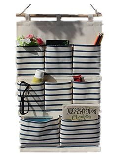 Moolecole Blue Stripes Linen/Cotton Fabric Wall Hanging Organizer Bag 8-Pockets Door Hanging Storage Bag Case Home Organizer Hanging Shelves