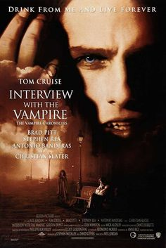 Interview with a Vampire Brad Pitt, Tom Cruise, Antonio Banderas and Kirsten Dunst star in this wonderful movie based on the novel by Anne Rice. I also love Christian Slater in this movie. This movie is rich and sensual. Tom Cruise plays a horrif Christian Slater, Best Horror Movies List, Scary Movies, Great Movies, Awesome Movies, Tom Cruise, Brad Pitt, Love Movie, Movie Tv