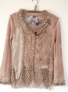 RESERVED for Leslie--Rose sorbet-- artful reworked vintage cardi with antique lace, hand embroidered, bohemian romantic Vintage Outfits, Boho Outfits, Pretty Outfits, Beautiful Outfits, Bohemian Mode, Bohemian Style, Boho Chic, Altered Couture, Antique Lace