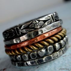 Set of 6 Sterling, Copper, and Brass Rings