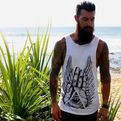 Dave Driskell - full thick dark beard mustache beards bearded man men mens' style summer beach clothing fashion tattoos tattooed handsome #beardsforever