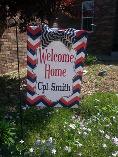 Personalized Military Welcome Home Chevron Garden Flag On Etsy, $17.50