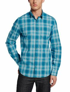 Calvin Klein Jeans Men's Ombre Plaid Long Sleeve Buttondown Shirt, Biscay Bay, Large Discount - http://mydailypromo.com/calvin-klein-jeans-mens-ombre-plaid-long-sleeve-buttondown-shirt-biscay-bay-large-discount.html