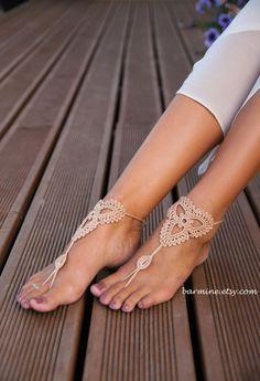 Champagne sandalias pies descalzos zapatos Nude joyería