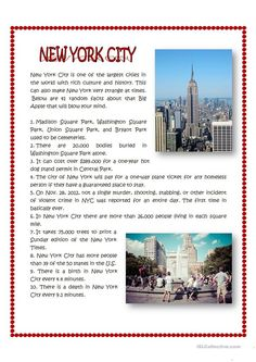 New York City facts worksheet - Free ESL printable worksheets made by teachers What are the coolest Jobs In New York? Check out some cool Work Pins we select for you guys and gals. English Vocabulary, English Grammar, English Language, Teaching Geography, World Geography, English Story, Learn English, English Collocations, Better English