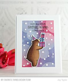 Stamps: BB Birthday Bears Die-namics: BB Birthday Bears, Stars in the Sky - Vertical Stencil: Basic Shapes - Circles Joy Taylor #mftstamps