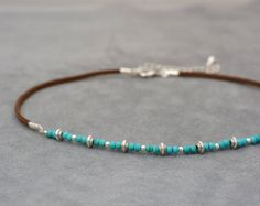 Choker necklace One pearl and turquoise beads by 1001ArtBeads