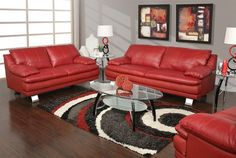 The Monza red leather sofa and loveseat are upholstered in a top grain leather everywhere you touch matched with a bonded leather on the outside back and side panels. Red Couch Living Room, 5 Piece Living Room, Paint Colors For Living Room, Home Living Room, Living Room Decor, Leather Sofa Decor, Leather Living Room Furniture, Red Leather Couches, Estilo Colonial