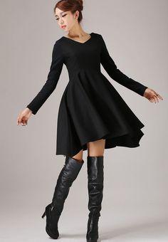 Black wool dress winter dress custom made mini dress (767) by xiaolizi on Etsy https://www.etsy.com/listing/173416791/black-wool-dress-winter-dress-custom