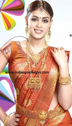 Wedding Silk Sarees Kanchipuram | Latest Saree Designs: genelia in orange kanchipuram bridal silk saree