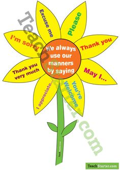 Sunflower Manners Sign | Teach Starter