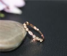 Art Deco Genuine Diamond Wedding Ring Half Eternity by NidaRings