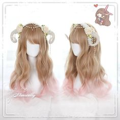"""Japanese lolita gradient curly wig   Coupon code """"cutekawaii"""" for 10% off"""