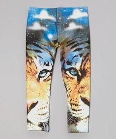 Loving this Blue & Orange Tiger Leggings - Girls on #zulily! #zulilyfinds