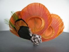 Autumns Glow   Orange Peacock Feather hair piece by bethanylorelle, $47.00