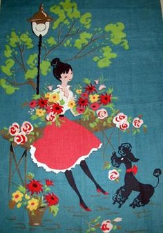 Flower lady with poodle fabric.