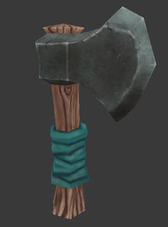 Hand Painted Low Poly Warcraft style Axe by ~Madgharr on deviantART