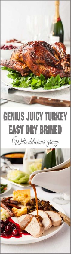 Genius Easy Juicy Roast Turkey (Dry Brined) - no bucket required, brine while turkey is defrosting AND the turkey is incredibly juicy! Far better than wet brining.