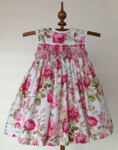 Size 6 months, My Paris Rose Dress for little girls. Last One in this Fabric, Hand Smocked Girls Dress, Handmade - Ready to Ship