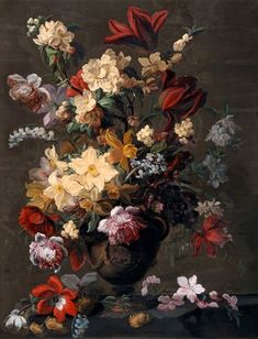 Mary Moser (1744-1819), Flowers in a vase which stands on a ledge. Description from pinterest.com. I searched for this on bing.com/images