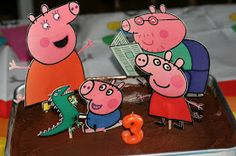 Peppa Pig DIY cake ~(Print out Peppa and family for a Chocolate Muddy Puddle cake)~
