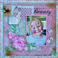 a simple girly layout made using the Enchanted Garden collection from Kaisercraft. By Kelly-ann Oosterbeek. Scrapbooking Layouts, Scrapbook Pages, Kids Pages, Enchanted Garden, Layout Inspiration, White Ink, Card Stock, Card Making, Crochet Patterns
