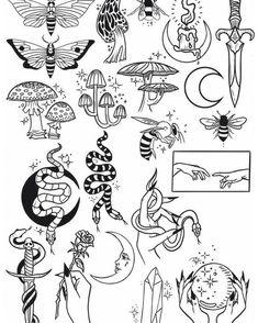Flash Art Tattoos, Tattoo Flash Sheet, Retro Tattoos, Tattoo Sketches, Tattoo Drawings, Tattoo Outline Drawing, Art Sketches, Kritzelei Tattoo, Doodle Tattoo