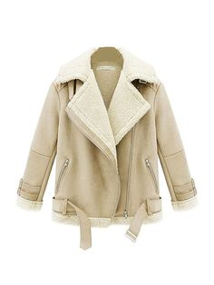 Solid Long Sleeve Thicken Cropped Winter Coats Beige