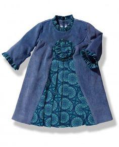Vestido en micropana azul con manga francesa