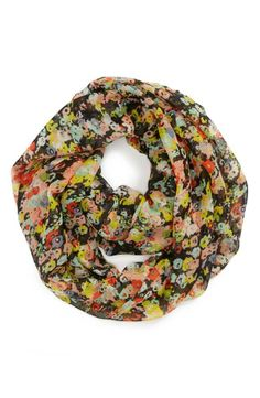 Wardrobe staple - Multi-color floral infinity scarf.