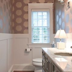 Powder Room: With wallpaper and wainscoting in guest bathroom Design Ideas, Pictures, Remodel and Decor