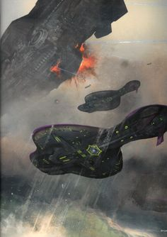 Covenant destroyers engage a UNSC vessel.