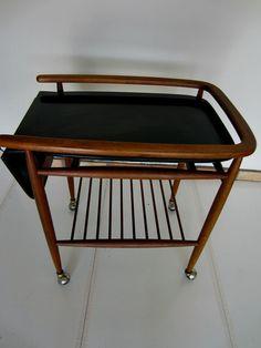 Mid Century Danish Mod Sculptural Walnut Serving Trolley Tea Bar Cart Extendable Mid Century Decor, Mid Century Furniture, Serving Trolley, Vintage Bar Carts, Tea Cart, Kitchen Stuff, Drafting Desk, Danish, Sculpture