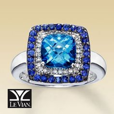 Le Vian White Gold Diamond, Blue Topaz & Sapphire Ring...I have a September birthday, so this should be MY birthstone ring!