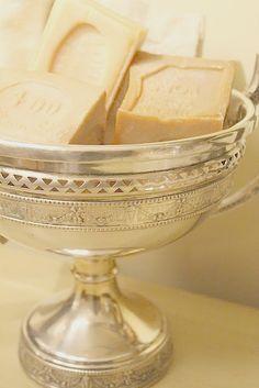 Silver Pedestal Bowl w/Guest Soaps