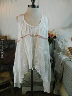 HEIRLOOMS, inspired by MP, crochet lace vtg pearl button tunic