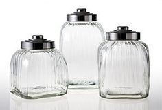 Glass Canisters, Asst. of 3