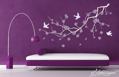 Chic Interior Room Decorating Ideas With Cherry Blossom Wall Decals for Cherry Blossom Decal Wall Art Japanese Cherry Blossom Wall Decal Blue Cherry Blossom Wall Decal Colored Wall Decals  Modern Bedroom Decorating Ideas With Dark Wall Paint And Blowing Tree Cherry Blossom Wall Decal Featuring White Bed Frame And Rain Crysta Pendant Lamp . 600x393 pixels