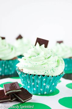 Deliciously Sprinkled | Homemade Minty Chocolate Cupcakes | http://deliciouslysprinkled.com