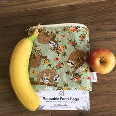 NEW Sloth Inspired Reusable Washable Lined Zippered Food Bag Sandwich Size by PurcellSewingCo on Etsy Reusable Bags, Fruits And Veggies, Zero Waste, Sloth, Safe Food, Sandwiches, Lunch Box, Banana, Snacks