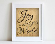 8 x 10 Joy to the World Burlap Print Christmas by Cloud9Craftss, $15.00