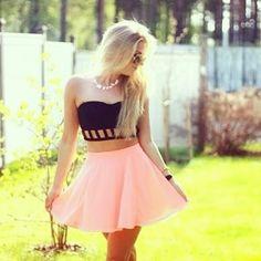 black crop tube top and pink skater skirt