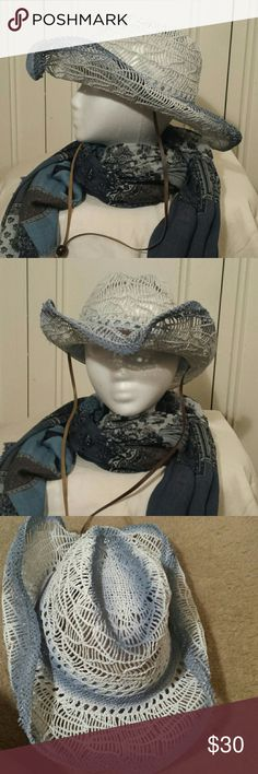 Blue Western - Boho Hat Unique and stylish hat!  Boho meets Western!!  Beautiful tie-dye shades of blue and white  Faux leather string   Purchased at a boutique and never used   Retail $50   ************* no low-ball offers will be acknowledged  no trades NO bundles over 5 lbs *************   happy poshing!! Accessories Hats