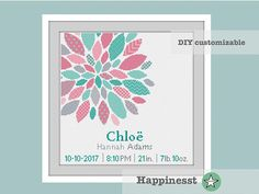 cross stitch baby birth sampler birth announcement modern